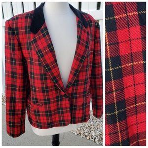 VTG Alfred Dunner wool red black plaid blazer 18